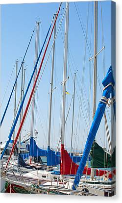 Sailboat Masts Canvas Print by Artist and Photographer Laura Wrede