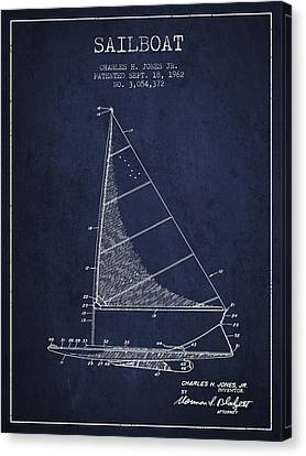 Sailboat Patent From 1962 - Navy Blue Canvas Print by Aged Pixel