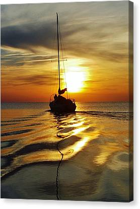 Sailboat Sunset 2 Pamlico Sound 2 4/24 Canvas Print by Mark Lemmon