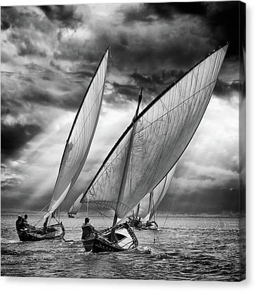 Sailboats And Light Canvas Print by Angel Villalba