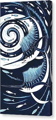 Sailfish, 2013 Woodcut Canvas Print by Nat Morley