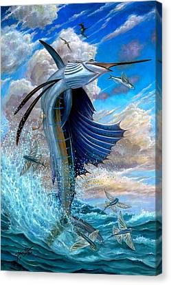Sailfish And Flying Fish Canvas Print by Terry Fox