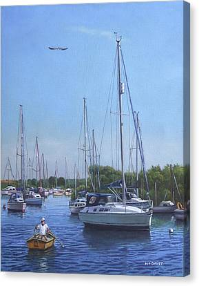 Sailing Boats At Christchurch Harbour Canvas Print by Martin Davey