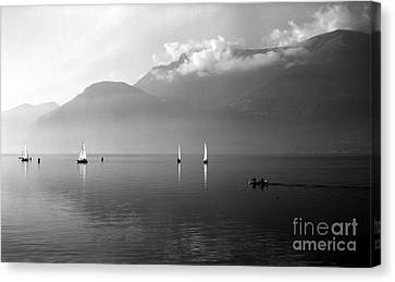 Sailing Boats On Como Lake Canvas Print by Riccardo Mottola