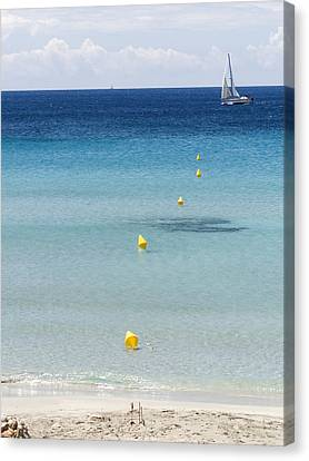 Son Bou Beach In South Coast Of Menorca Is A Turquoise Treasure - Sailing In Blue Canvas Print by Pedro Cardona