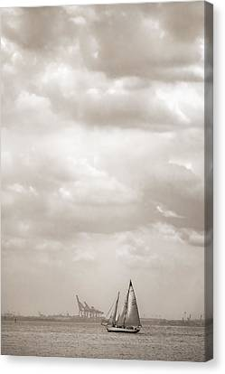 Sailing In New York Harbor - Nautical Canvas Print by Gary Heller