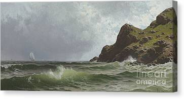 Sailing Off The Coast Canvas Print by Alfred Thompson Bricher