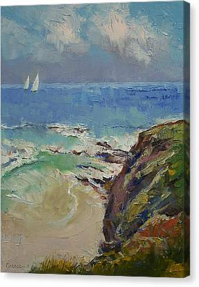 Sailing Off The Cove Canvas Print by Michael Creese