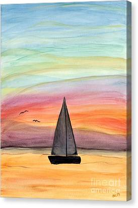 Sailing On A Summer Night Canvas Print by Anne Clark