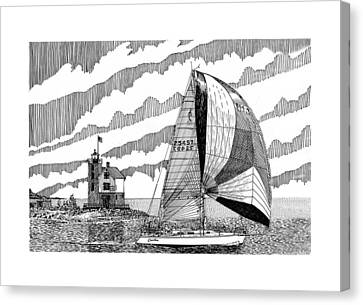 Holland Harbor Lighthouse And Spinaker Flying Sailboat Canvas Print by Jack Pumphrey