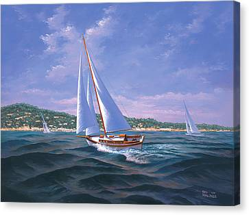 Sailing On Monterey Bay Canvas Print by Del Malonee