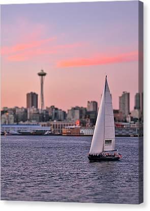 Sailing Puget Sound Canvas Print by Adam Romanowicz
