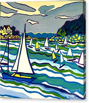Sailing School Manchester By-the-sea Canvas Print by Debra Bretton Robinson