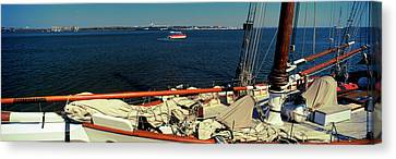 Sailing Ship In The Ocean, Charleston Canvas Print by Panoramic Images