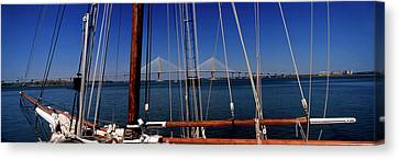 Sailing Ship With Bridge Canvas Print by Panoramic Images