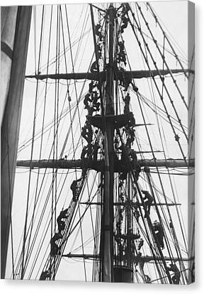 Sailors In The Rigging Canvas Print by Underwood Archives