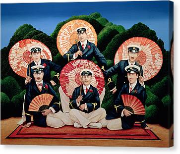 Sailors With Umbrellas Canvas Print by Anthony Southcombe