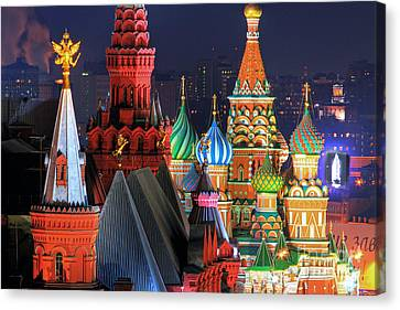 Saint Basils Cathedral On Red Square In Moscow Canvas Print by Lars Ruecker