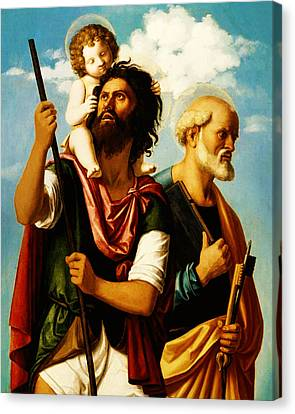 Saint Christopher With Saint Peter Canvas Print by Bill Cannon