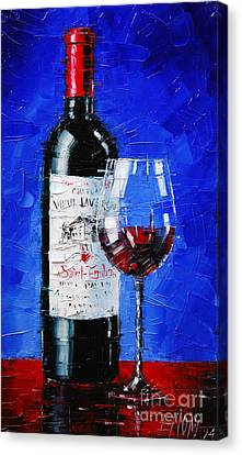 Still Life With Wine Bottle And Glass II Canvas Print by Mona Edulesco