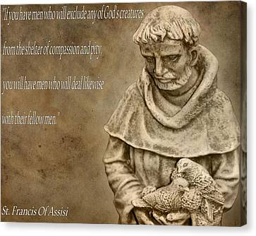Saint Francis Of Assisi Canvas Print by Dan Sproul