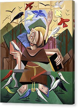 Saint Francis Sermon To The Birds Canvas Print by Anthony Falbo