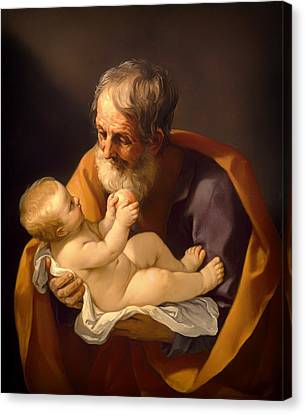 Saint Joseph And The Christ Child Canvas Print by Mountain Dreams