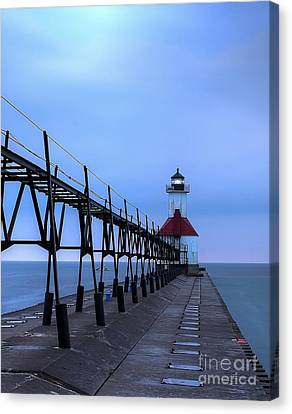 Saint Joseph Lighthouse And Pier Canvas Print by Twenty Two North Photography