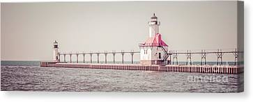 Saint Joseph Michigan Lighthouse Panorama Picture  Canvas Print by Paul Velgos