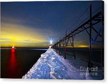 Saint Joseph Pier At Night Canvas Print by Twenty Two North Photography