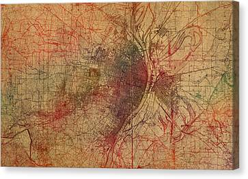 Saint Louis Missouri Street Map Schematic Watercolor On Old Parchment From 1903 Canvas Print by Design Turnpike