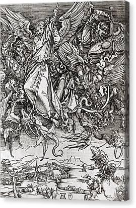 Saint Michael And The Dragon Canvas Print by Albrecht Durer or Duerer