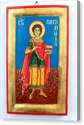 Saint Panteleimon Doctor Without Silver For Those Who Had No Money Canvas Print by Denise ClemencoIcons