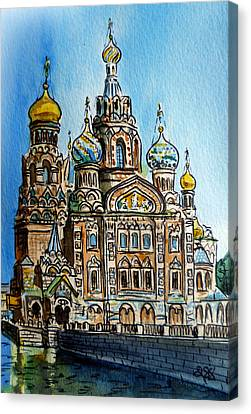 Saint Petersburg Russia The Church Of Our Savior On The Spilled Blood Canvas Print by Irina Sztukowski