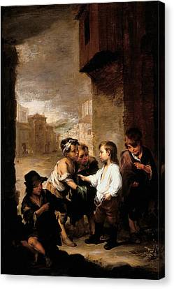 Saint Thomas Of Villanueva Dividing His Clothes Among Beggar Boys, C.1667 Oil On Canvas Canvas Print by Bartolome Esteban Murillo