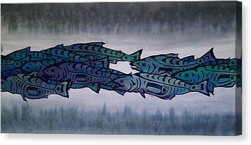 Salmon Passing Canvas Print by Carolyn Doe