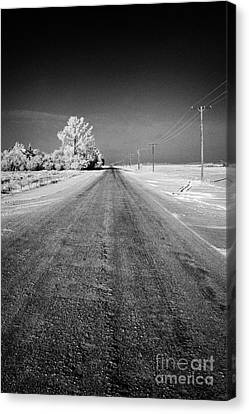 salt and grit covered rural small road in Forget Saskatchewan Canada Canvas Print by Joe Fox