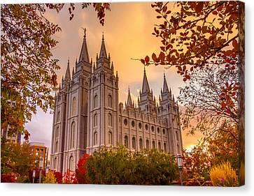Salt Lake City Temple Canvas Print by Emily Dickey
