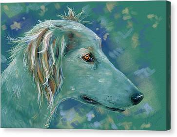 Saluki Dog Painting Canvas Print by Michelle Wrighton