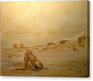Saluky At Luxor Canvas Print by Juan  Bosco