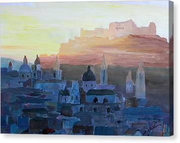 Salzburg At Dusk Canvas Print by M Bleichner