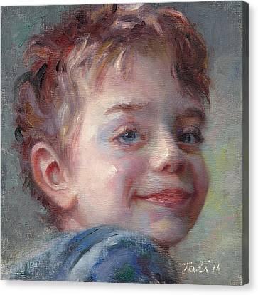 Sammy In Blue - Portrait Of A Boy Canvas Print by Talya Johnson