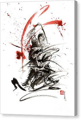 Samurai Sword Black White Red Strokes Bushido Katana Martial Arts Sumi-e Original Fight Ink Painting Canvas Print by Mariusz Szmerdt