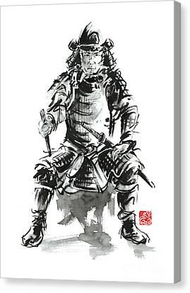 Samurai Sword Bushido Katana Armor Silver Steel Plate Metal Kabuto Costume Helmet Martial Arts Sumi- Canvas Print by Mariusz Szmerdt