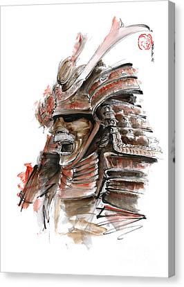 Samurai Warrior Japanese Armor  Full Face Mask Canvas Print by Mariusz Szmerdt