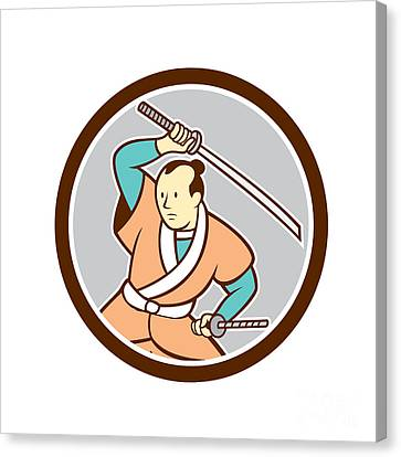 Samurai Warrior Katana Sword Circle Cartoon Canvas Print by Aloysius Patrimonio