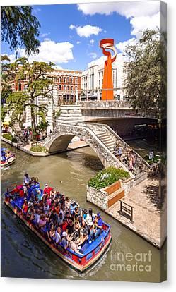 San Antonio Riverwalk And Torch Of Friendship In The Summer - San Antonio Texas Canvas Print by Silvio Ligutti