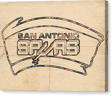 San Antonio Spurs Logo Vintage Canvas Print by Florian Rodarte