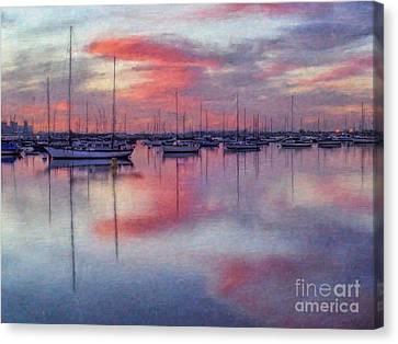 San Diego - Sailboats At Sunrise Canvas Print by Lianne Schneider