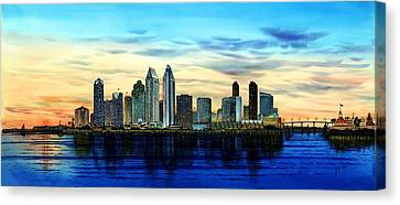 San Diego Skyline And Coronado At Dusk U.s.a Canvas Print by John YATO